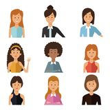 White background with set half body group people women royalty free illustration