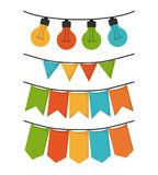 White background with set of party festoon and decorative lights. Vector illustration Stock Photography