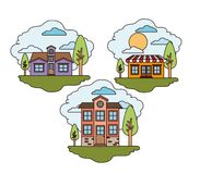 White background with set of rural houses scenes in sunny day. Vector illustration Royalty Free Stock Photos