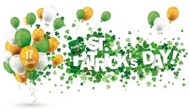 Hat Shamrocks Happy St Patricks Day Balloons Header. White background with shamrocks and balloons for St Patricks Day Royalty Free Stock Image