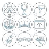 White background with silhouette color sections shading of circular frame of icons business development. Vector illustration Royalty Free Stock Photography