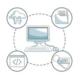 White background with silhouette color sections shading of desk computer and icons business development around. Vector illustration Stock Images