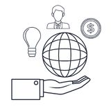 White background with silhouette hand holding a globe icons investment business. Vector illustration vector illustration