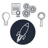White background with silhouette rocket star up with icons creative business. Vector illustration Stock Photo