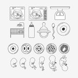 White background silhouette set pregnancy icons. Vector illustration Royalty Free Stock Images