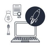 White background with silhouette tech laptop star up icons investment business. Vector illustration Stock Photo