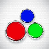 White background with small circles and three buttons Stock Photos