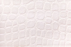 White background from a soft upholstery textile material, closeup. Fabric with pattern imitating crocodile skin.. Stock Image