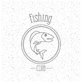White background with sparkle of monochrome silhouette emblem with bass fish logo fishing club. Vector illustration Stock Images
