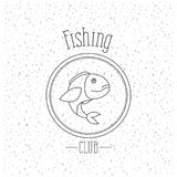 White background with sparkle of monochrome silhouette emblem with largemouth bass fish logo fishing club. Vector illustration Royalty Free Stock Photo