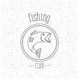 White background with sparkle of monochrome silhouette emblem with salmon bass fish logo fishing club. Vector illustration Royalty Free Stock Photography