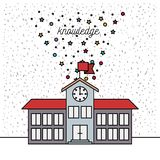 White background with sparkles of school building knowledge. Vector illustration stock illustration
