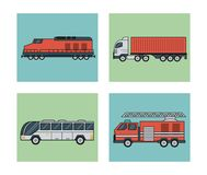 White background with square set of vehicles of public transport. Vector illustration Royalty Free Stock Photography
