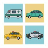 White background with square set of vehicles of transport ambulance cab police car and automobile. Vector illustration Royalty Free Stock Images