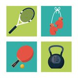 White background with squares set of sports elements tennis racket and boxing gloves and ping pong racket and kettlebell. Weight vector illustration Stock Image