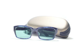 white background sunglasses with bag Stock Photos