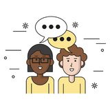 White background with teamwork couple with bubble speech woman of dark skin with glasses and caucasian curly man vector illustration