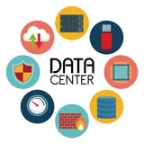 White background with text data center an icons elements around. Vector illustration stock illustration