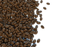 White background for text surrounded by coffee beans Stock Photo