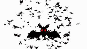 Halloween themed transition. White background turns into black bats with red eyes.