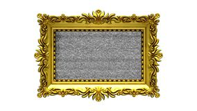 White background. Tv noise and green chroma key plays on the screen in ornate gold picture frame. 3D animated intro. Tv noise on the screen in gold picture stock footage