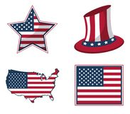 White background with united states flag in shape of star and hat and map. Vector illustration Stock Photos