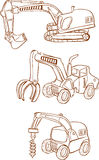 White background Vector illustration of a Heavy machines Stock Photos