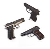 White background weapons pistols Royalty Free Stock Image