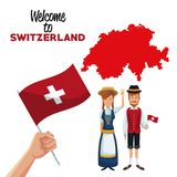 White background of welcome to switzerland with traditional people hand holding a flag and silhouette red map. Vector illustration Stock Image