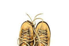 White background with yellow shoes Stock Photo