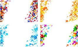 White backgrounds with colorful arrows. White backgrounds set with colorful arrows pattern. Vector paper illustration Stock Image