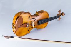 White backround musical instrument violin stock photo