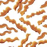 White bacon vector textile print food seamless pattern. Royalty Free Stock Photos