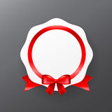 044 White badge banner with red ribbon vector illustration eps10. White badge banner with red ribbon vector illustration eps10 Royalty Free Stock Images