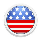 White badge with image of the American flag. White badge with the image of the American flag. Vector illustration Stock Images