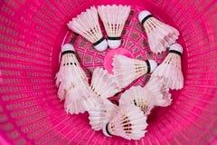 White badminton birdies in pink plastic bin. White badminton birdies in bright pink plastic bin royalty free stock photos