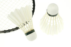 White badminton cock and rocket isolated Royalty Free Stock Photos