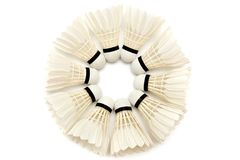 White badminton shuttlecocks Stock Images