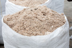 White bags of salt. Salt mining - white bags of salt Royalty Free Stock Photo