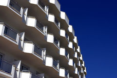 White balconies. Cala bona, mallorca, majorca, spain stock photography