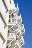White balconies from beneath on sunny day Stock Photo