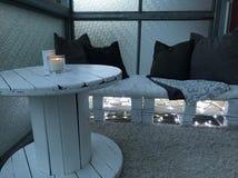 White balcony royalty free stock photography