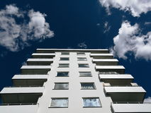 White balcony apartment building on clear sky Stock Photo