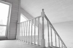 White balcony railings. New wooden house. Interior feagment Royalty Free Stock Image
