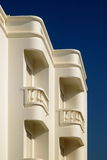 White Balcony. White traditional portuguese building white balconies Stock Photo