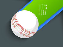 White ball for Cricket. White ball with text Lets Play for Cricket sports concept Royalty Free Stock Image