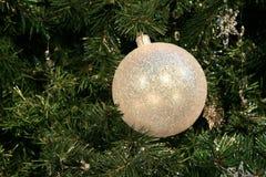 White Ball on the Fir Branch Stock Photo