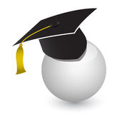 White ball with graduation cap Stock Image