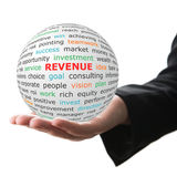 white ball in hand with red inscription Revenue Stock Photo