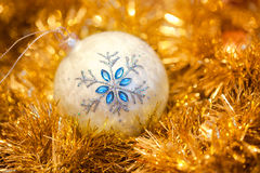 White ball with a snowflake Royalty Free Stock Image